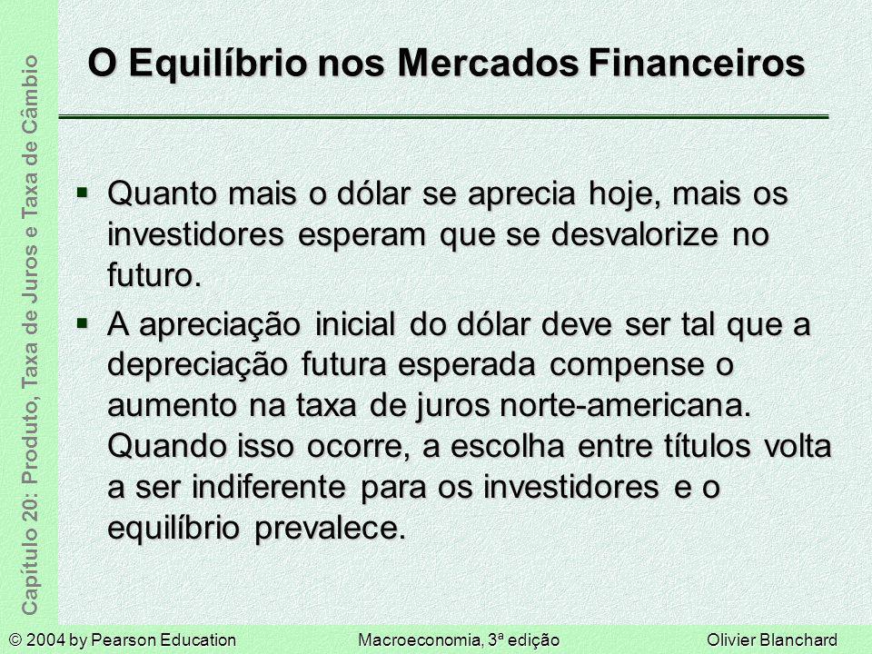 © 2004 by Pearson EducationMacroeconomia, 3ª ediçãoOlivier Blanchard Capítulo 20: Produto, Taxa de Juros e Taxa de Câmbio O Equilíbrio nos Mercados Fi