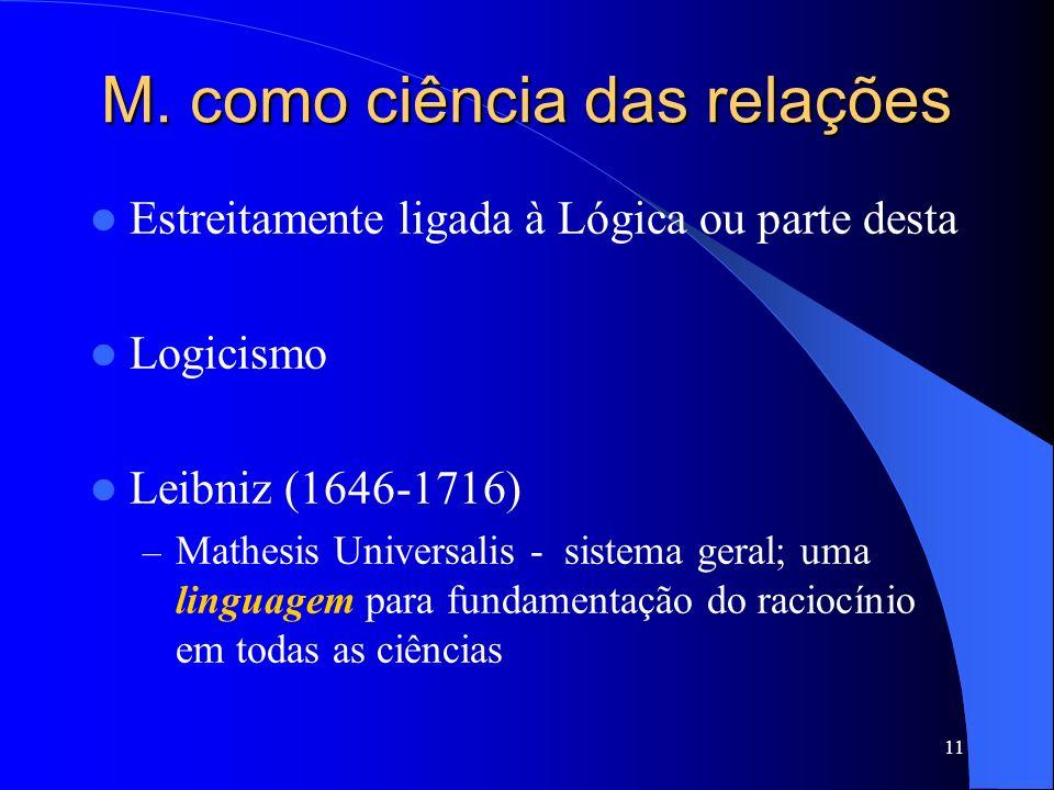 11 M. como ciência das relações Estreitamente ligada à Lógica ou parte desta Logicismo Leibniz (1646-1716) – Mathesis Universalis - sistema geral; uma