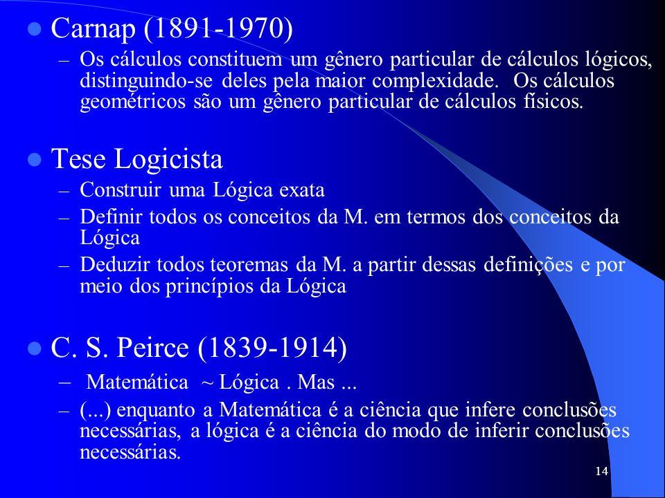 14 Carnap (1891-1970) –O–Os cálculos constituem um gênero particular de cálculos lógicos, distinguindo-se deles pela maior complexidade. Os cálculos g