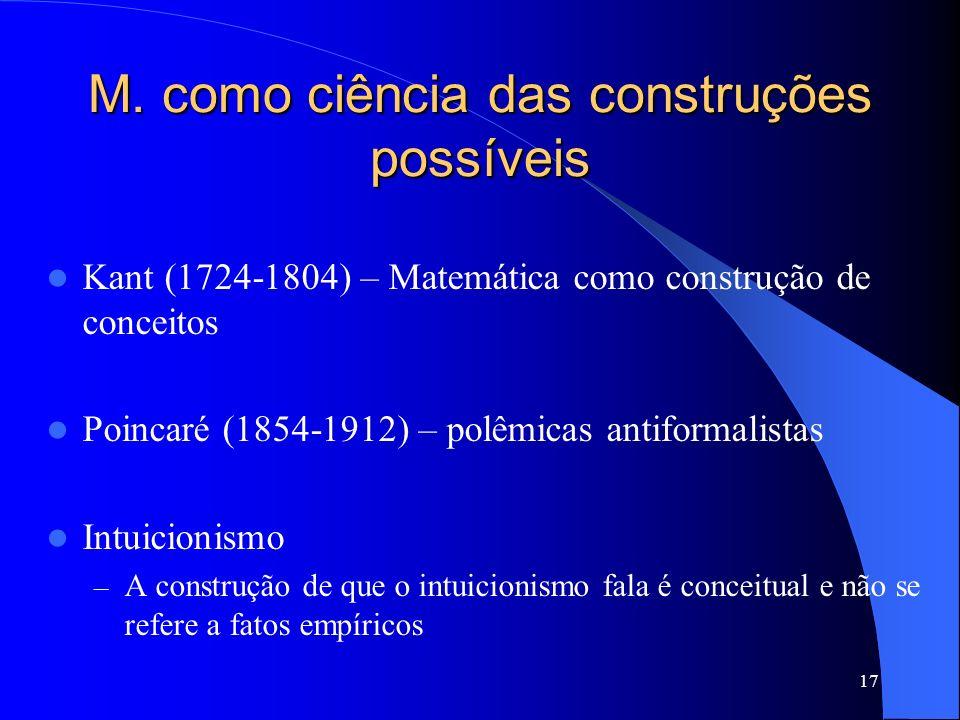 17 M. como ciência das construções possíveis Kant (1724-1804) – Matemática como construção de conceitos Poincaré (1854-1912) – polêmicas antiformalist