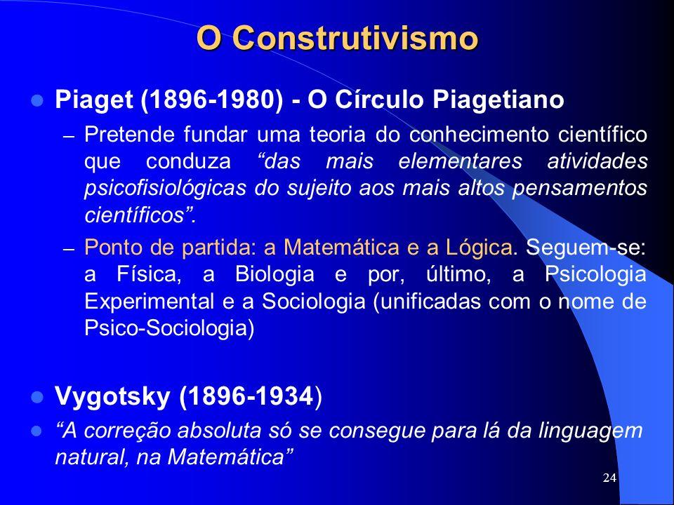24 O Construtivismo Piaget (1896-1980) - O Círculo Piagetiano –P–Pretende fundar uma teoria do conhecimento científico que conduza das mais elementare