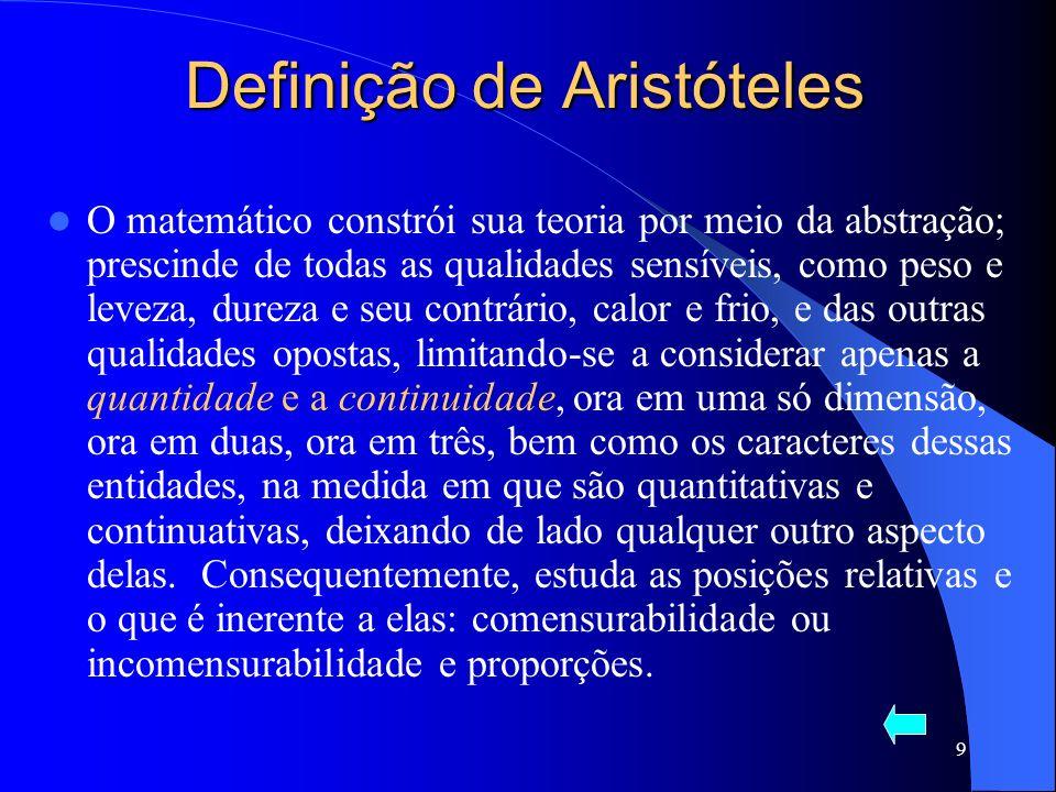 9 Definição de Aristóteles O matemático constrói sua teoria por meio da abstração; prescinde de todas as qualidades sensíveis, como peso e leveza, dur