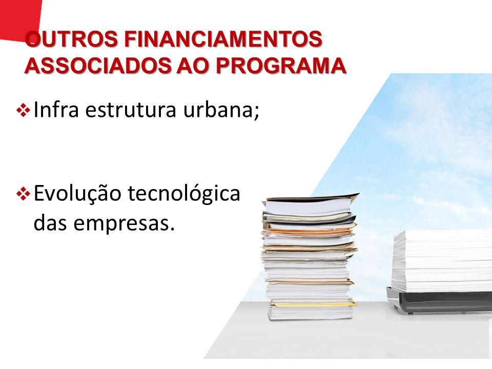 Infra estrutura urbana; Evolução tecnológica das empresas. OUTROS FINANCIAMENTOS ASSOCIADOS AO PROGRAMA