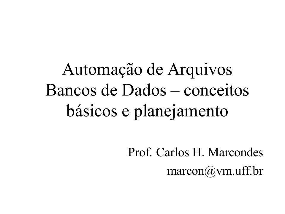 Automação de Arquivos Bancos de Dados – conceitos básicos e planejamento Prof. Carlos H. Marcondes marcon@vm.uff.br