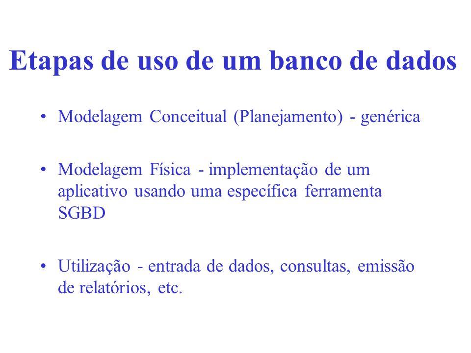 Etapas de uso de um banco de dados Modelagem Conceitual (Planejamento) - genérica Modelagem Física - implementação de um aplicativo usando uma específ