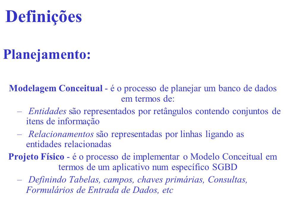 Definições Planejamento: Modelagem Conceitual - é o processo de planejar um banco de dados em termos de: – Entidades são representados por retângulos