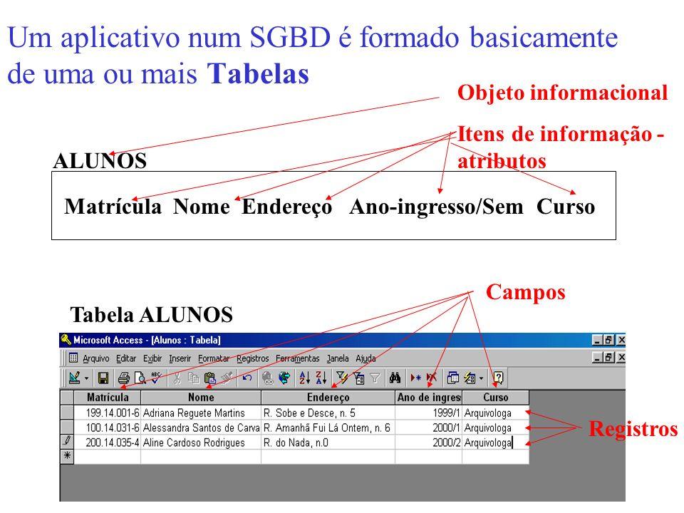 Um aplicativo num SGBD é formado basicamente de uma ou mais Tabelas Tabela ALUNOS ALUNOS Objeto informacional Itens de informação - atributos Matrícul