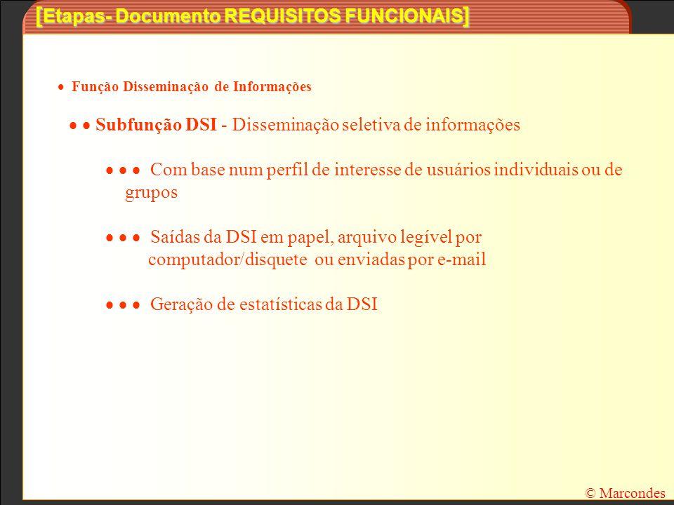 [ Etapas- Documento REQUISITOS FUNCIONAIS ] Função Disseminação de Informações Subfunção DSI - Disseminação seletiva de informações Com base num perfi