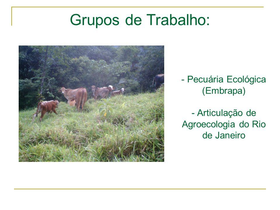 - Pecuária Ecológica (Embrapa) - Articulação de Agroecologia do Rio de Janeiro Grupos de Trabalho: