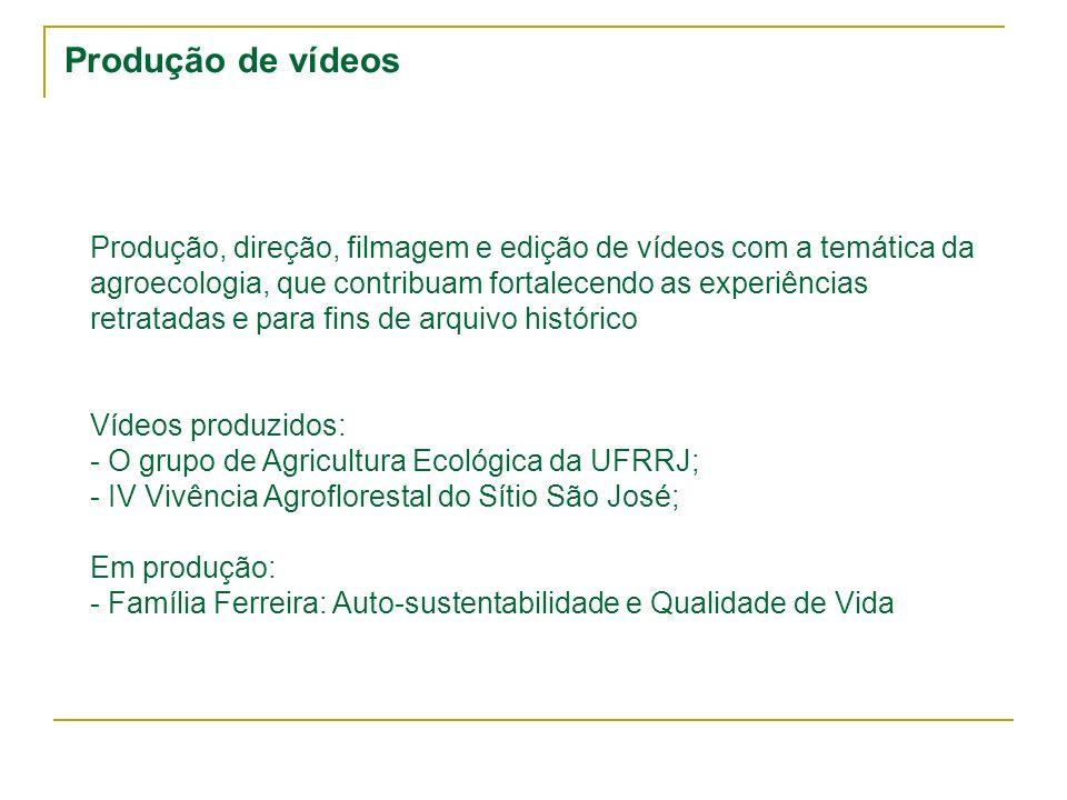 Produção de vídeos Produção, direção, filmagem e edição de vídeos com a temática da agroecologia, que contribuam fortalecendo as experiências retratad