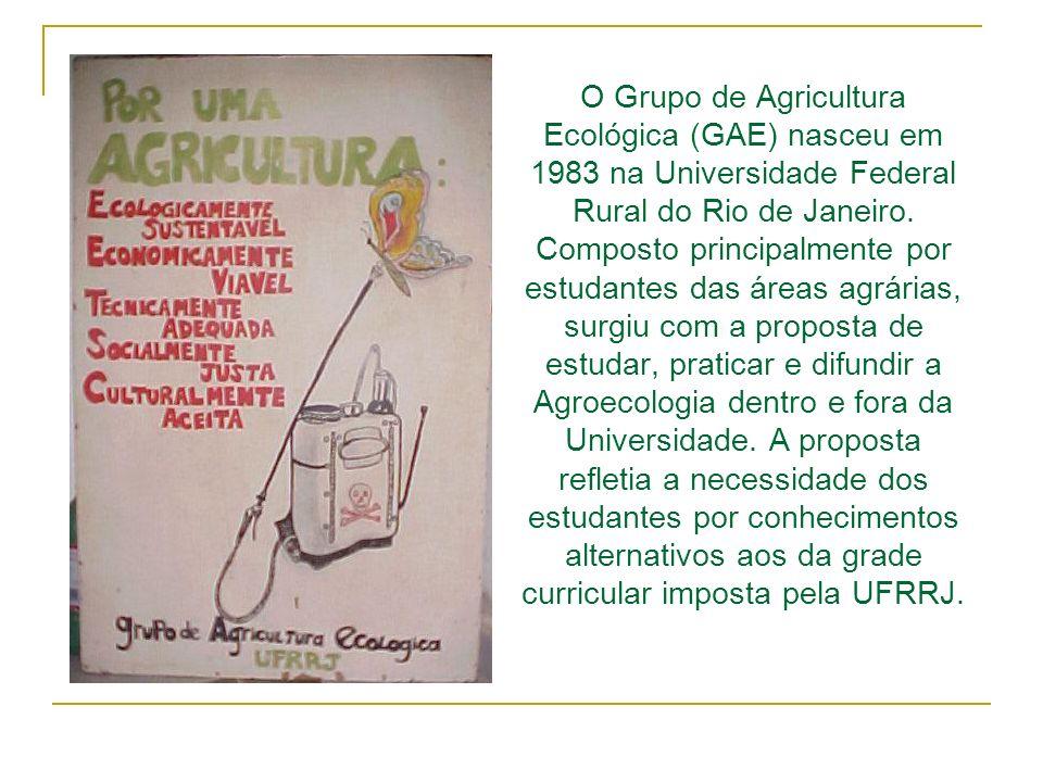 O Grupo de Agricultura Ecológica (GAE) nasceu em 1983 na Universidade Federal Rural do Rio de Janeiro. Composto principalmente por estudantes das área