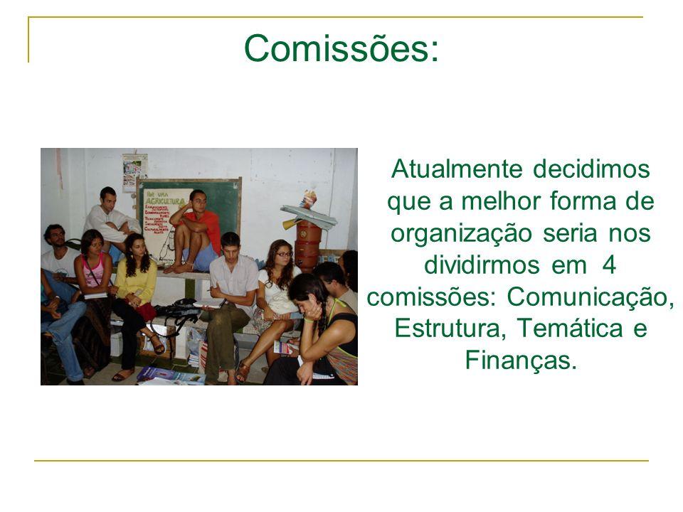Atualmente decidimos que a melhor forma de organização seria nos dividirmos em 4 comissões: Comunicação, Estrutura, Temática e Finanças. Comissões: