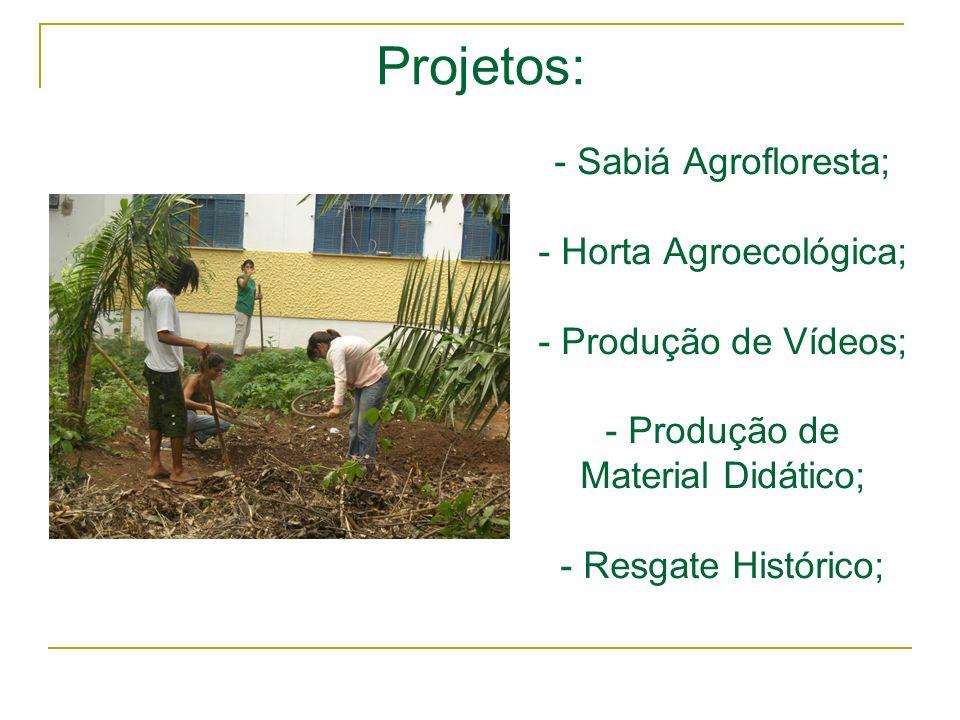- Sabiá Agrofloresta; - Horta Agroecológica; - Produção de Vídeos; - Produção de Material Didático; - Resgate Histórico; Projetos: