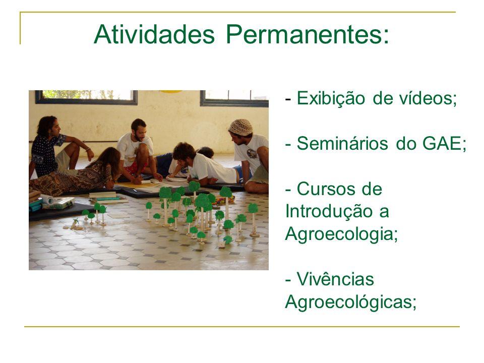 Atividades Permanentes: - Exibição de vídeos; - Seminários do GAE; - Cursos de Introdução a Agroecologia; - Vivências Agroecológicas;