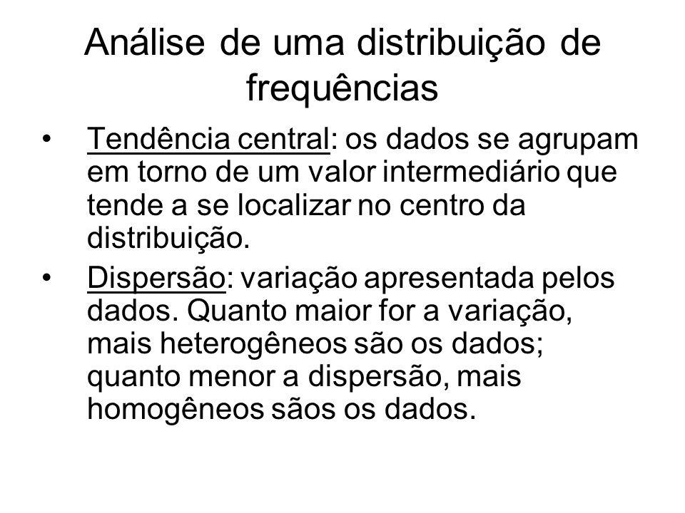 Análise de uma distribuição de frequências Tendência central: os dados se agrupam em torno de um valor intermediário que tende a se localizar no centro da distribuição.