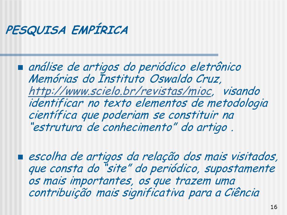 16 PESQUISA EMPÍRICA análise de artigos do periódico eletrônico Memórias do Instituto Oswaldo Cruz, http://www.scielo.br/revistas/mioc, visando identi