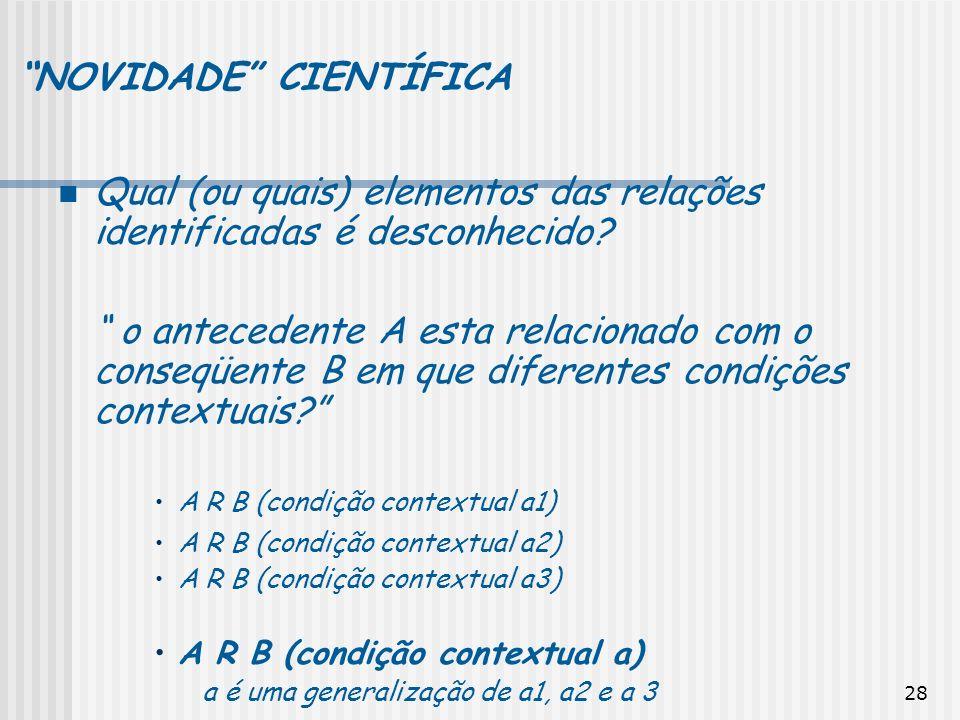28 NOVIDADE CIENTÍFICA Qual (ou quais) elementos das relações identificadas é desconhecido? o antecedente A esta relacionado com o conseqüente B em qu