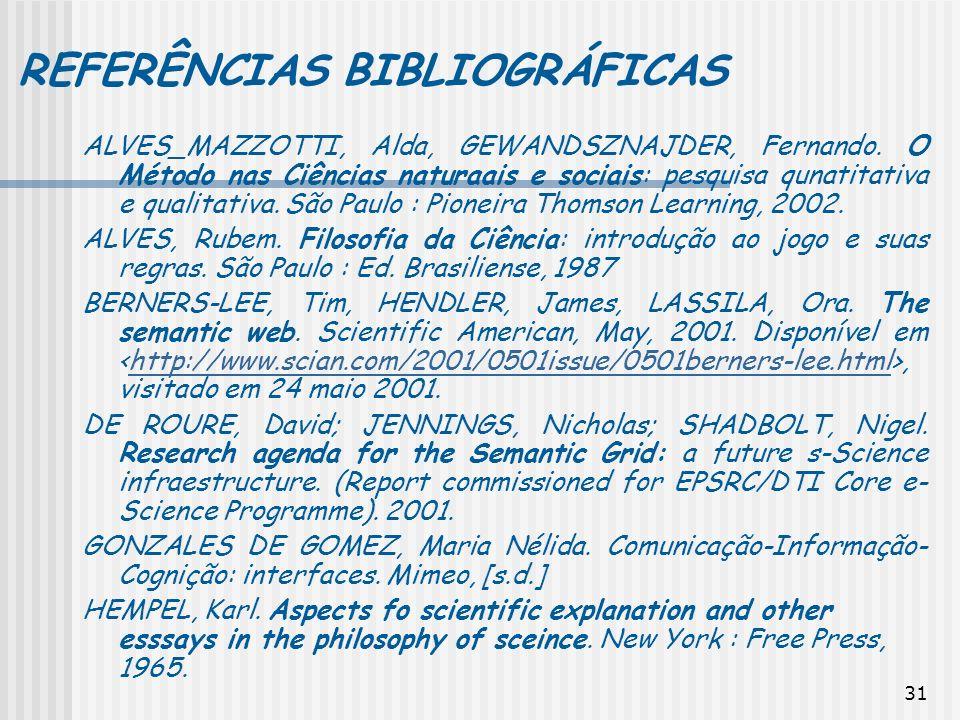 31 REFERÊNCIAS BIBLIOGRÁFICAS ALVES_MAZZOTTI, Alda, GEWANDSZNAJDER, Fernando. O Método nas Ciências naturaais e sociais: pesquisa qunatitativa e quali