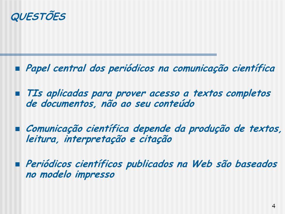 4 Papel central dos periódicos na comunicação científica TIs aplicadas para prover acesso a textos completos de documentos, não ao seu conteúdo Comuni