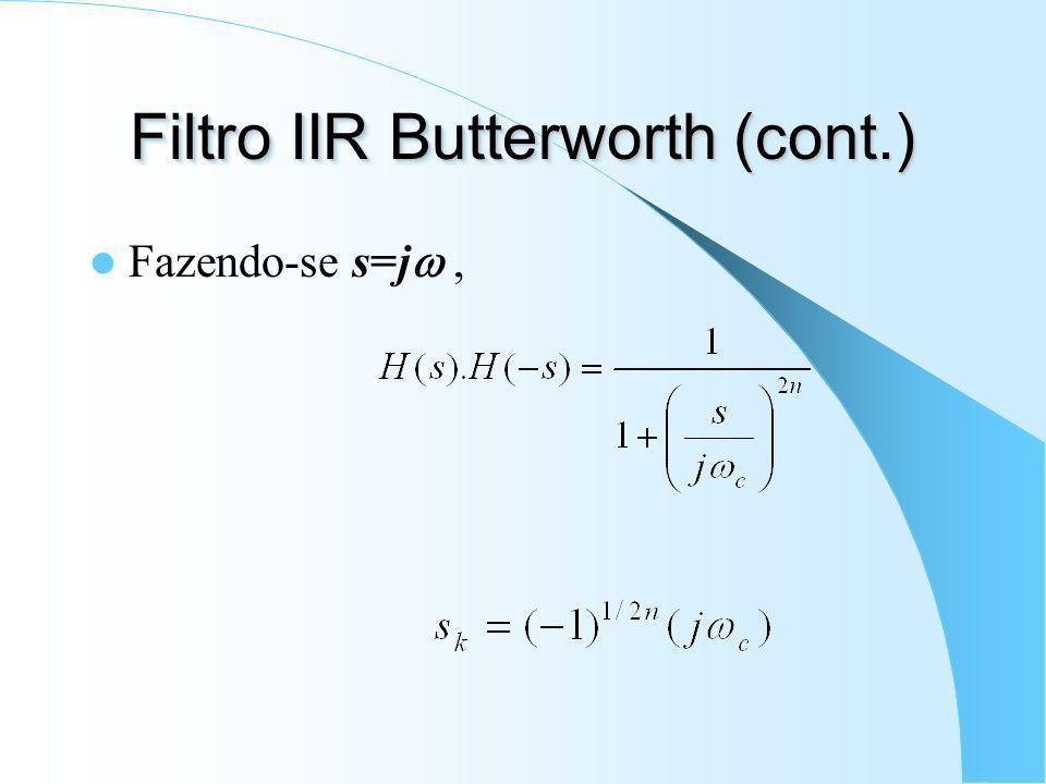Filtro IIR Butterworth Maximamente plano; Filtro passa-baixas: