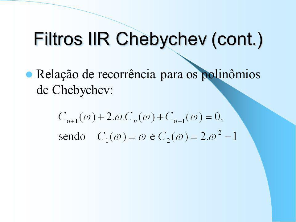 Filtro IIR Chebychev (cont.) Definição dos polinômios de Chebychev: