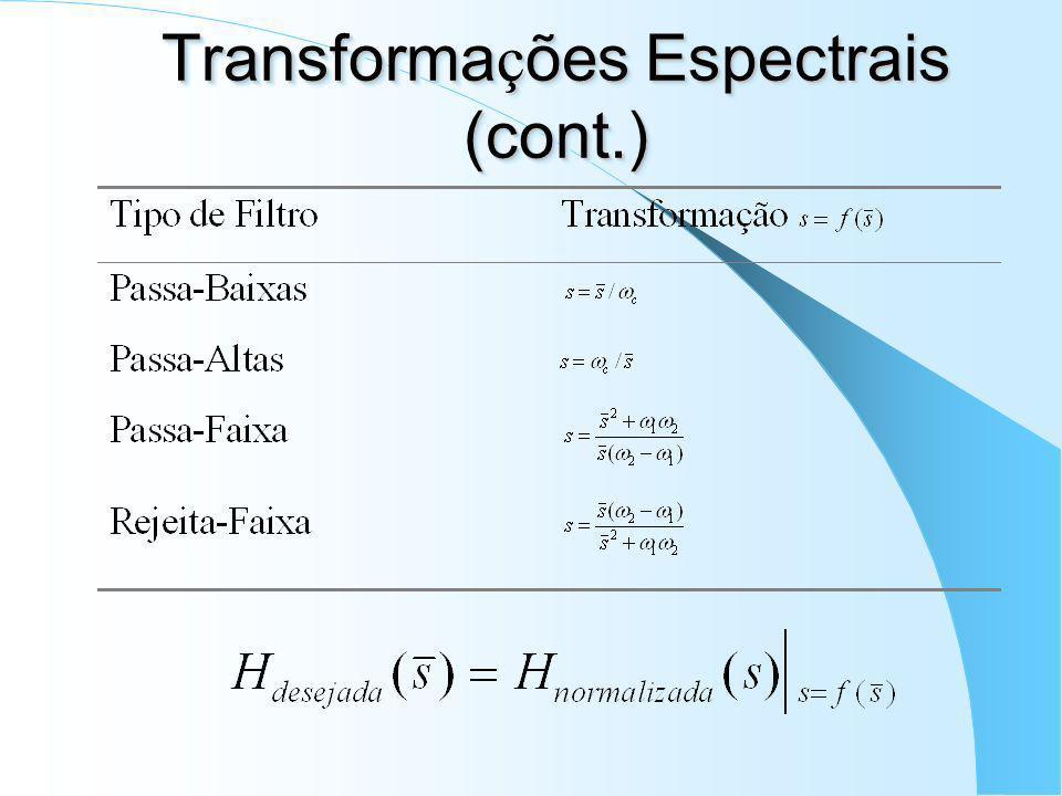 Transforma ç ões Espectrais para Filtros Anal ó gicos Filtros passa-baixas normalizados para quaisquer tipos de filtros; Freqüência de corte: – Butter