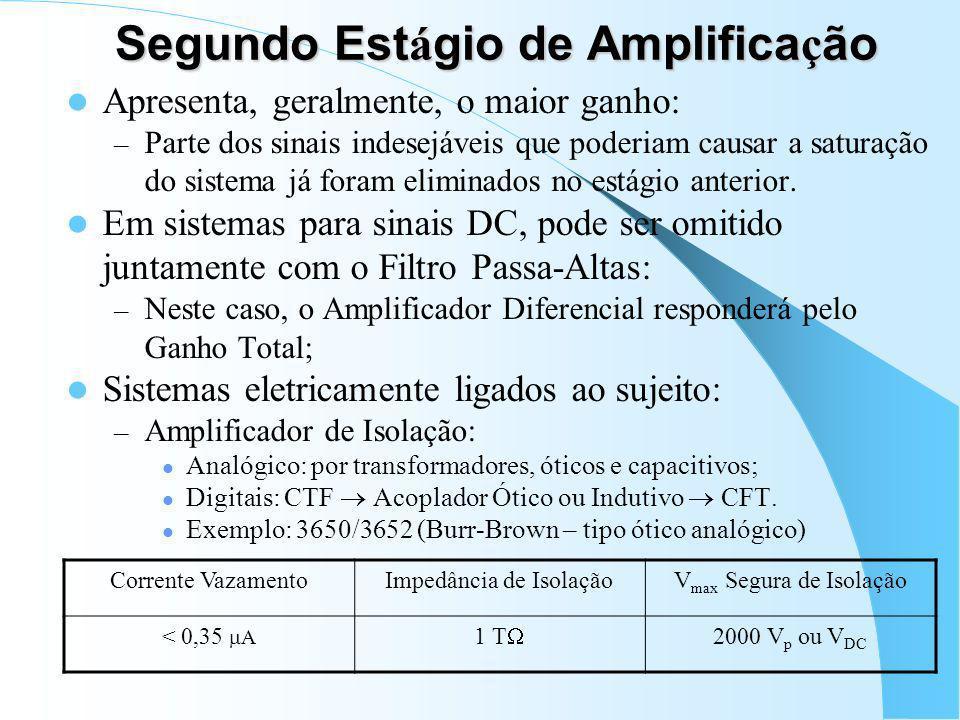 Filtro Passa-Altas Deve ser omitido quando DC for importante: – Extensometria e Células de Carga; – Termo-pares. Importante com sinais eletrofisiológi