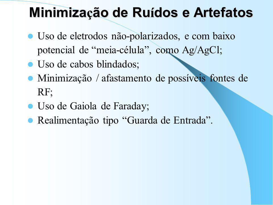 Filtro Passa-Baixas Importante na separação de sinais indesejáveis de alta freqüência e interferências RF: – Atenuação do EMG na coleta de EEG; – Aten