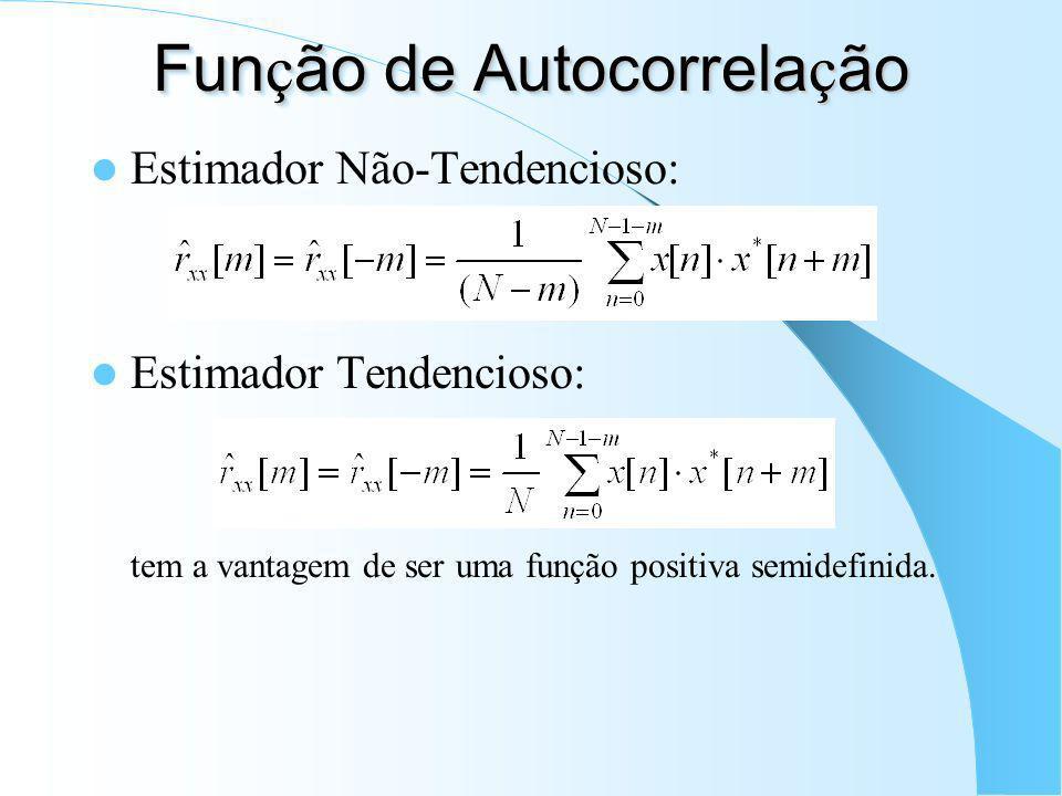 Fun ç ão de Autocorrela ç ão Para um sinal x[n] qualquer: onde E{...} refere-se à esperança matemática e ( * ) refere-se ao complexo conjugado. Para x