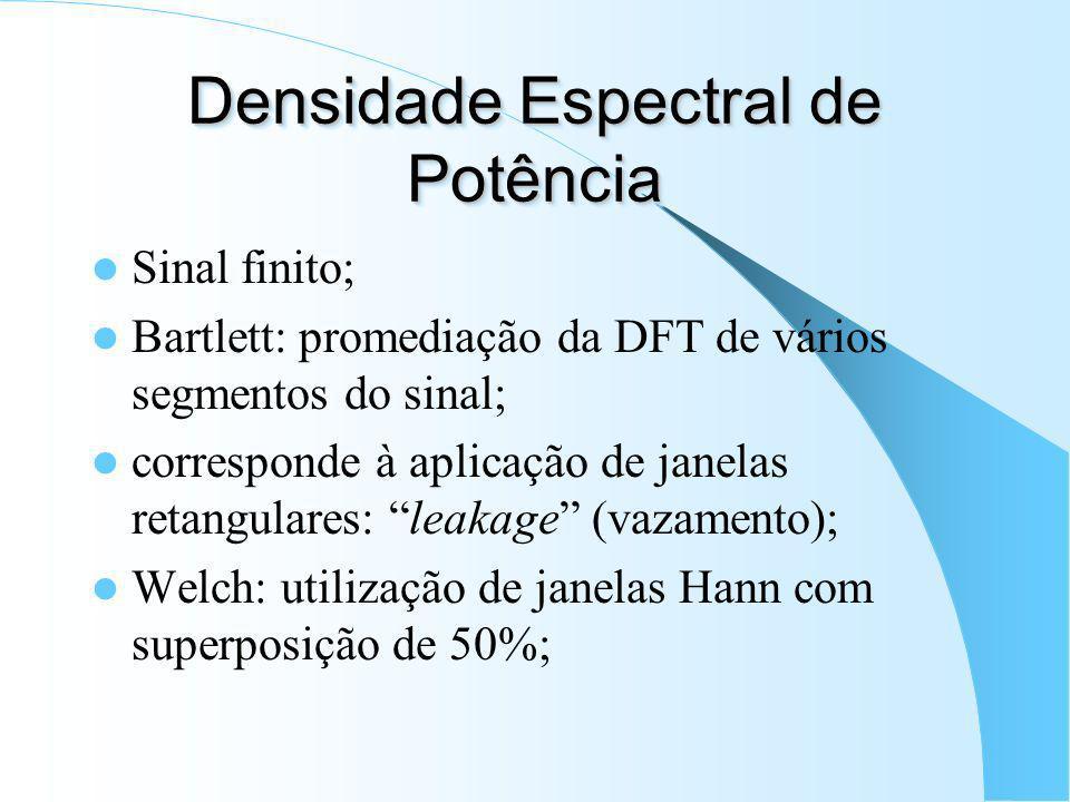 Densidade Espectral de Potência Definição: transformada de Fourier da FAC: Significância estatística da estimação espectral; Variância resolução espec
