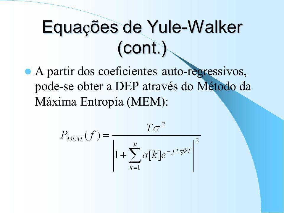 Equa ç ões de Yule-Walker Buscam-se os coeficientes a[k] que minimizam a variância (energia) do erro: Solução das equações de Yule-Walker (para sinais