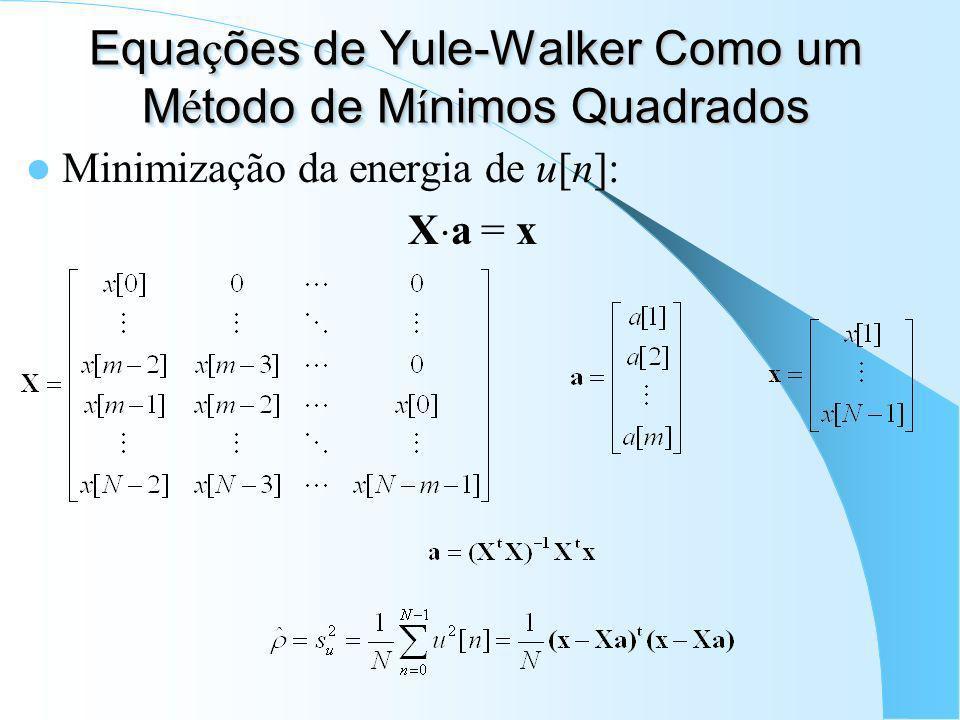 Equa ç ões de Yule-Walker (cont.) A partir dos coeficientes auto-regressivos, pode-se obter a DEP através do Método da Máxima Entropia (MEM):