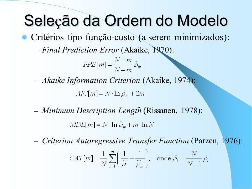 Equa ç ões de Yule-Walker Como um M é todo de M í nimos Quadrados Minimização da energia de u[n]: X a = x