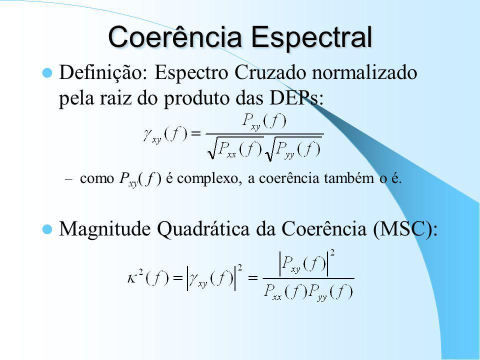 Espectro Cruzado Definição: transformada de Fourier da Função de Correlação Cruzada: como r xy [m] não é necessariamente par, P xy ( f ) não é puramen