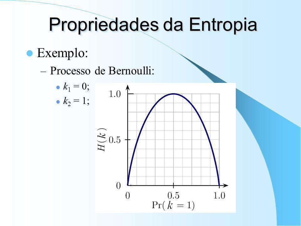 Propriedades da Entropia Continuidade; Valor máximo (p.ex. var. discreta): Entropia conjunta: Se k e l são independentes: