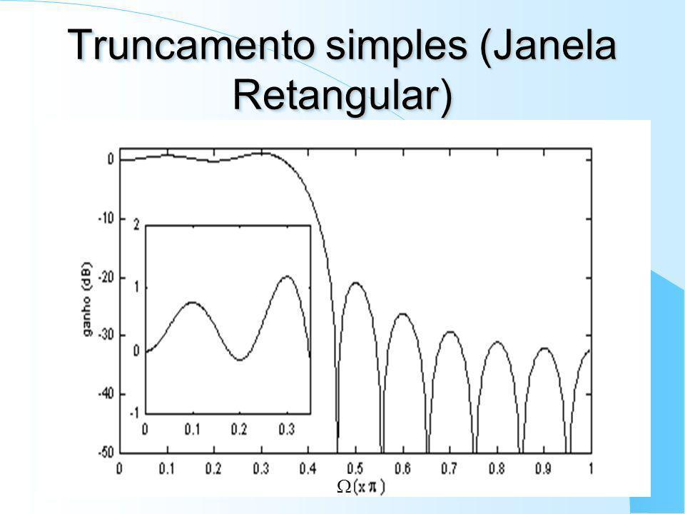 Filtros FIR - M é todo de Janelas Idéia: truncar a resposta ao impulso ideal h d [n] correspondente a uma janela retangular no domínio da freqüência;