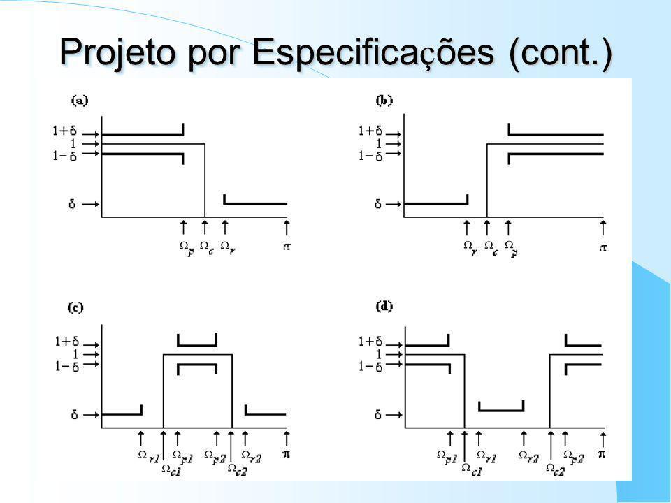 Projeto por Especifica ç ões (cont.) Faixa de passagem: Ap ripple máximo, delimitada por p (ou p1 p2 ); Faixa de rejeição: Ar de atenuação mínima, del