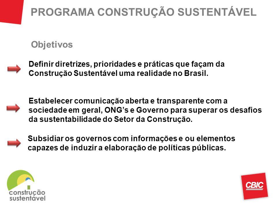 PROGRAMA CONSTRUÇÃO SUSTENTÁVEL Definir diretrizes, prioridades e práticas que façam da Construção Sustentável uma realidade no Brasil. Estabelecer co