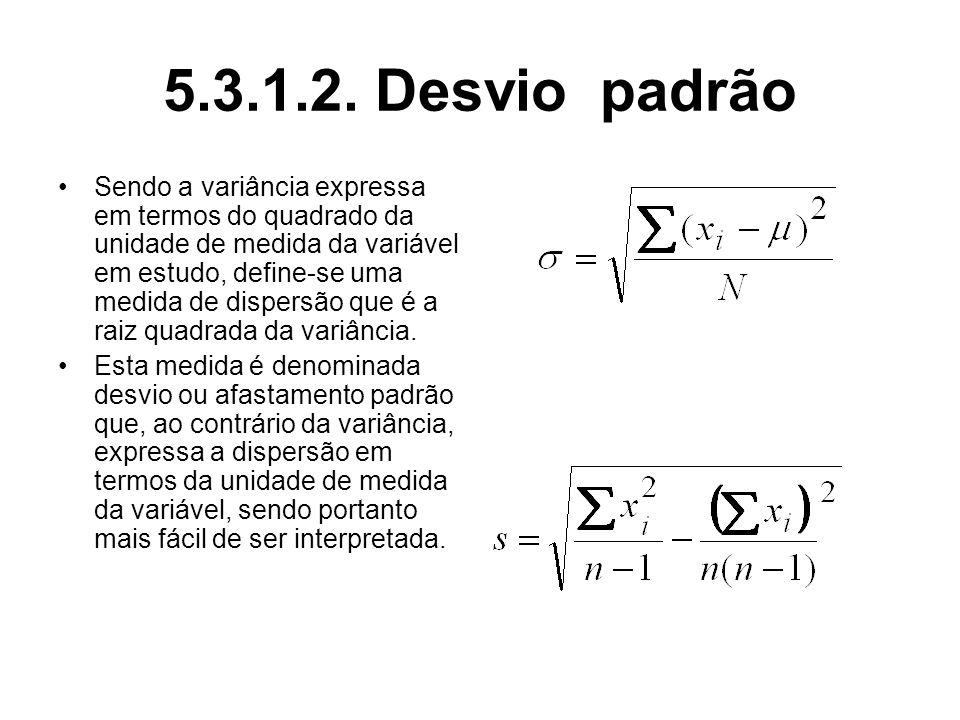 5.3.1.2. Desvio padrão Sendo a variância expressa em termos do quadrado da unidade de medida da variável em estudo, define-se uma medida de dispersão