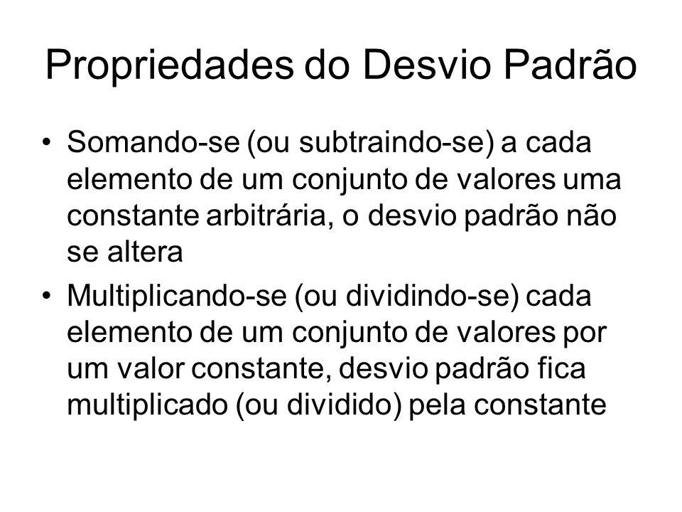 Propriedades do Desvio Padrão Somando-se (ou subtraindo-se) a cada elemento de um conjunto de valores uma constante arbitrária, o desvio padrão não se