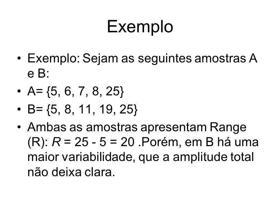 Exemplo Exemplo: Sejam as seguintes amostras A e B: A= {5, 6, 7, 8, 25} B= {5, 8, 11, 19, 25} Ambas as amostras apresentam Range (R): R = 25 - 5 = 20.