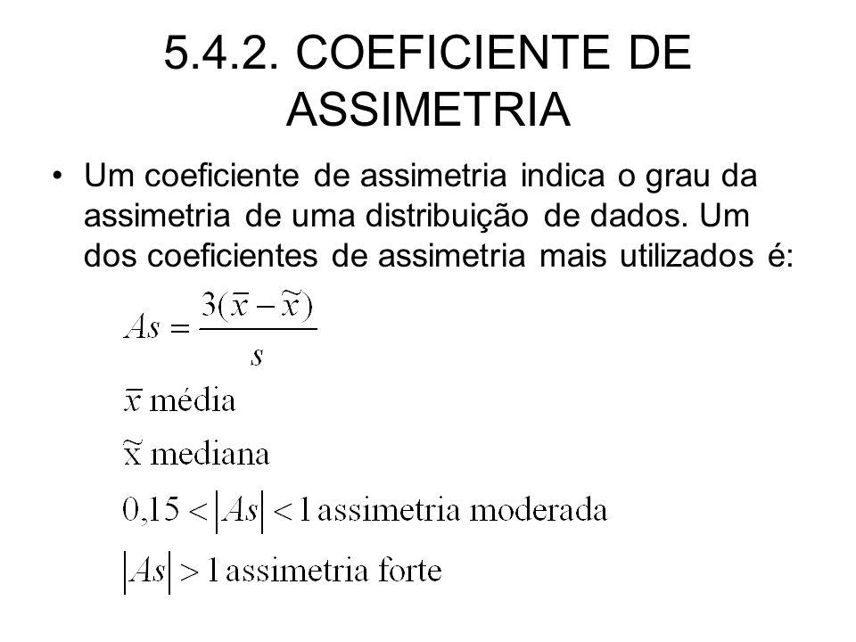 5.4.2. COEFICIENTE DE ASSIMETRIA Um coeficiente de assimetria indica o grau da assimetria de uma distribuição de dados. Um dos coeficientes de assimet