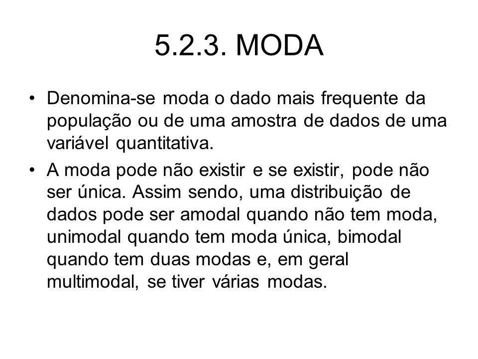 5.2.3. MODA Denomina-se moda o dado mais frequente da população ou de uma amostra de dados de uma variável quantitativa. A moda pode não existir e se