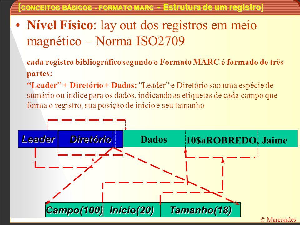[ CONCEITOS BÁSICOS - FORMATO MARC - Estrutura de um registro] Nível Físico: lay out dos registros em meio magnético – Norma ISO2709 cada registro bib