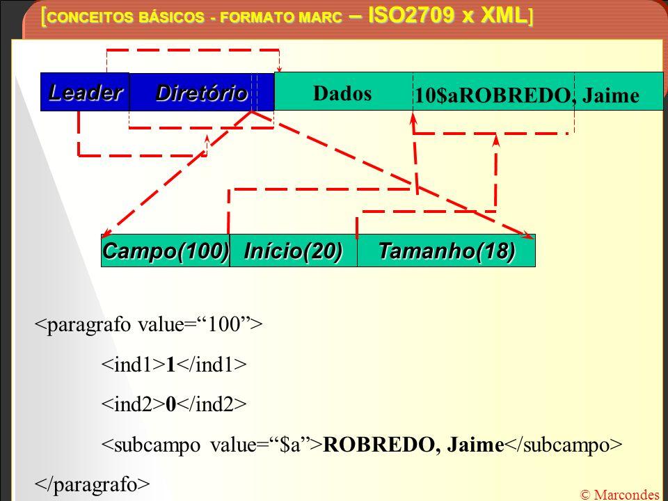 [ CONCEITOS BÁSICOS - FORMATO MARC – ISO2709 x XML ] © Marcondes Leader Diretório Campo(100)Início(20)Tamanho(18) 10$aROBREDO, Jaime Dados 1 0 ROBREDO