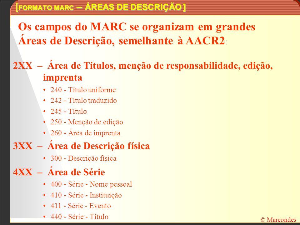 [ FORMATO MARC – ÁREAS DE DESCRIÇÃO ] Os campos do MARC se organizam em grandes Áreas de Descrição, semelhante à AACR2 : 2XX – Área de Títulos, menção