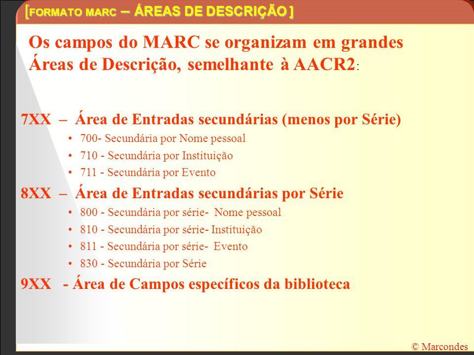 [ FORMATO MARC – ÁREAS DE DESCRIÇÃO ] Os campos do MARC se organizam em grandes Áreas de Descrição, semelhante à AACR2 : 7XX – Área de Entradas secund