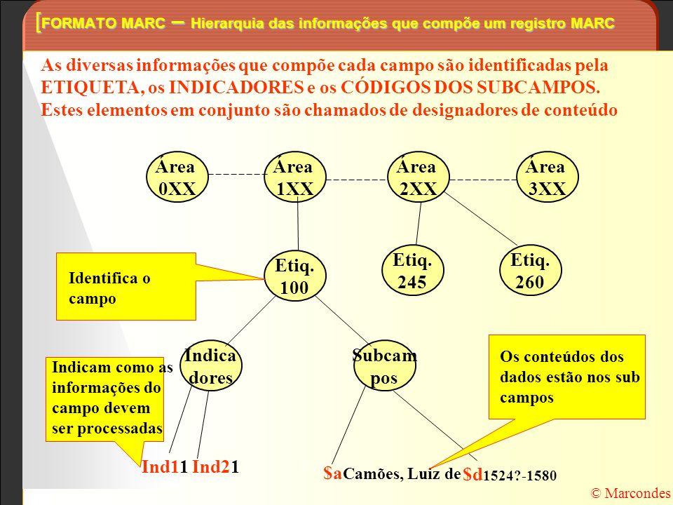 As diversas informações que compõe cada campo são identificadas pela ETIQUETA, os INDICADORES e os CÓDIGOS DOS SUBCAMPOS. Estes elementos em conjunto