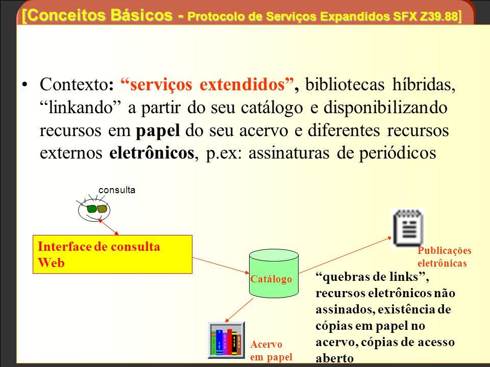 Contexto: serviços extendidos, bibliotecas híbridas, linkando a partir do seu catálogo e disponibilizando recursos em papel do seu acervo e diferentes