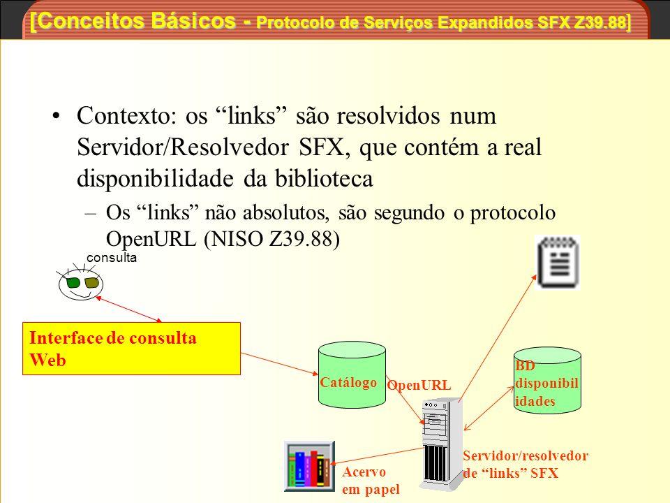 [Conceitos Básicos - Protocolo de Serviços Expandidos SFX Z39.88 ] Contexto: os links são resolvidos num Servidor/Resolvedor SFX, que contém a real di